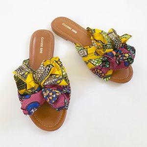 Gianni Bini Dakeena Flower Pom Slide Sandals NWT